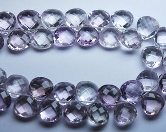 4 Match Pair,Finest Quality,Matched Pair 12mm Size,Natural Pink Amethyst Faceted Heart Shaped Briolettes