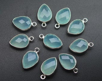 Matched Pair,925 Sterling Silver,AQUA Chalcedony Faceted Pear Shape Pendant,10 Piece of 16mm