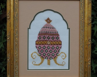 "Cross Stitch Instant Download Pattern ""Pink Elegance"" Counted Embroidery Chart. Ornamental Decorative Egg Design Easter Holiday X Stitch"