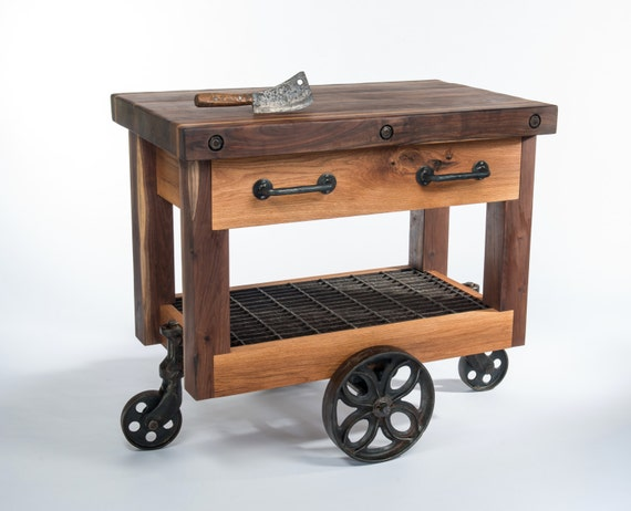 Lineberry Factory Cart Kitchen Island Butcher Block