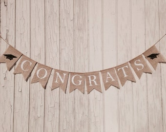 CONGRATS Burlap Banner, Graduation Banner, Class of 2017 Banner, Graduation Party Decor, Graduation Burlap Banner, Graduation Announcement