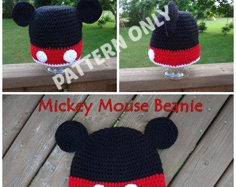 Cartoon Mouse Crochet Hat PATTERN, PDF, 6 Sizes, Instant Download
