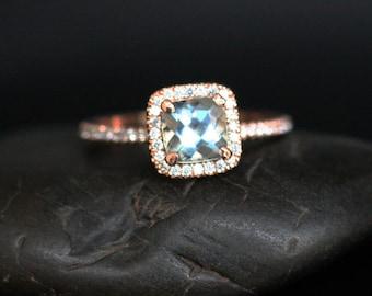Rose Gold Aquamarine Engagement Ring Diamond Ring 14k Rose Gold with Aquamarine Cushion 6mm and Diamonds
