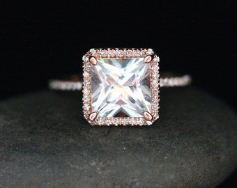 White Topaz Halo Diamond Ring in 14k Rose Gold with White Topaz Princess Cut 8mm and Diamonds (Also Available in White Gold)