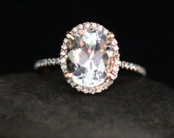 Oval White Topaz Ring White Topaz Engagement Ring in 14k Rose Gold with White Topaz Oval 10x8mm and Diamond Halo