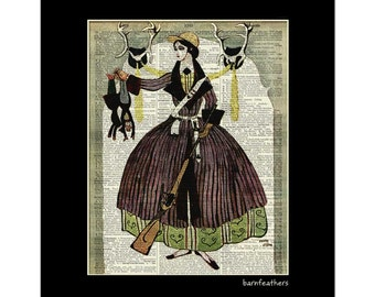 Lady Hunter with Gun printed on an old Dictionary Page - Vintage Illustration Print No. P334