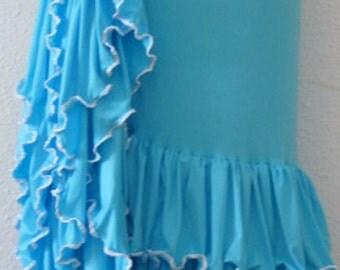 Flamenco costume. Flamenco Skirts. Light blue flamenco skirt with ruffles. Costumes. Dancing. . Blue flamenco skirt