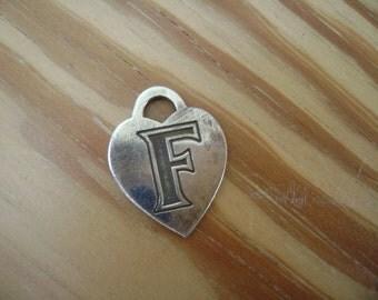 letter F sterling heart charm for repurposing