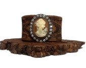 Embossed Leather Rhinestone Cameo Cuff