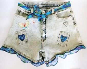 Vintage High Waist Ruffle Patch Distressed Denim Cut Off Shorts