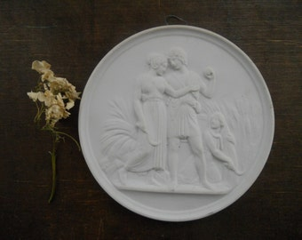 Vintage plaster plaque Round shape wall decor White wall decor made in Denmark
