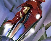 Poster of Iron Man protrayedf as the Rocketeer posterDigital Print 11x17 Print