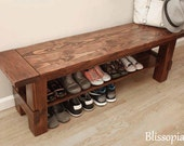 Solid Wood Storage Bench, Shoe Bench, Entryway Bench, Shoe Storage