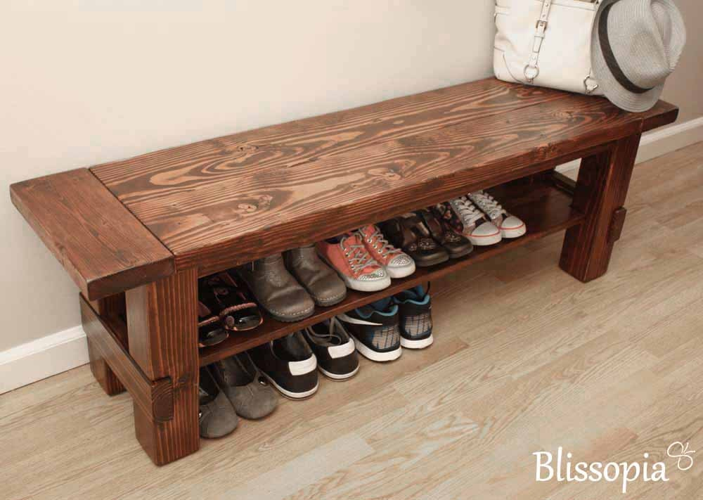 solid wood storage bench shoe bench entryway bench by blissopia. Black Bedroom Furniture Sets. Home Design Ideas