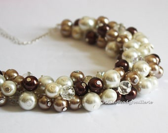 Brown Necklace Cluster Pearl Necklace Chocolate Brown Taupe and Ivory Bridesmaid Gift Chunky Necklace, Cluster Necklace, Bridesmaid Necklace