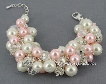 Pearl Cluster Bracelet, Pink Pearl Bracelet, Pink and Ivory Bracelet, Chunky Bracelet, Bridesmaids Bracelet, Wedding, Jewelry, Bracelet