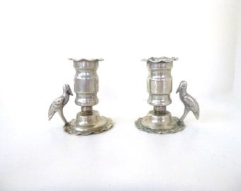 Vintage Boliviano Candle Holders -- Pewter Bird -- Silver Tone Set of Two (2)