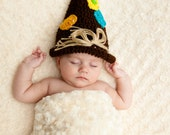 Brown Patched Scarecrow Crochet Hat, Fits 0-3month, Fall Scarecrow, Harvest Scarecrow, Halloween Costume, Photo Prop,