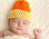 Candy Corn Crochet Hat - Halloween, Candy Corn, Hand Crocheted, Orange, Yellow, White, Crochet
