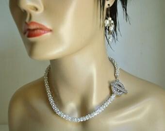 Wedding Bridal Jewelry, Bridal Pearl Necklace, Brides Bridesmaids, Wedding Pearl Necklace, Pearl Necklace, Rhinestone Necklace,