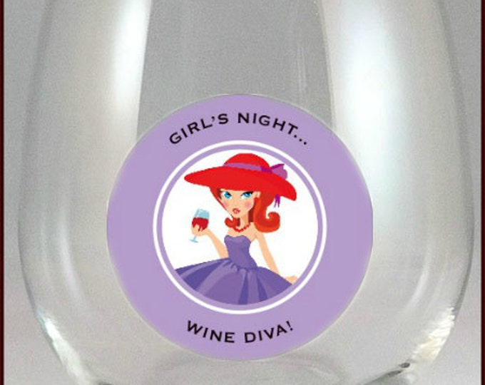 Wine Glass Decals, - Girls Night - Glass Not included 6/pack