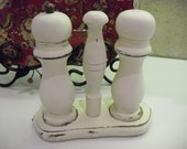 White Wood Salt and Pepper Shakers