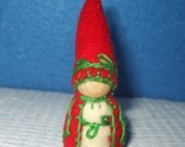 Wee Little Elf with Leaf Embroidery, Eco-Friendly, Waldorf Inspired,Wool and Wood Peg People, Dollhouse Doll, Nature Table