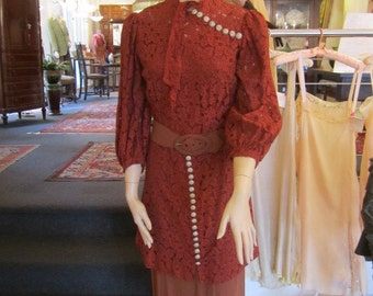 Vintage Belted  Rust Lace Tunic Dress over Heavy Crepe Slip, ca Early 1930s