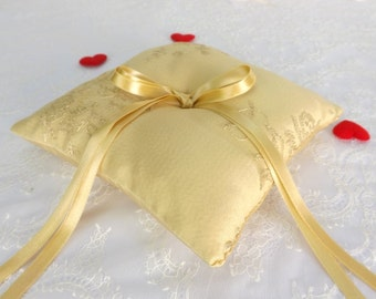 Gold satin wedding ring pillow. Gold floral embroidery. Wedding ring bearer
