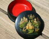 Vintage Russian Lacquer Trinket Box Round
