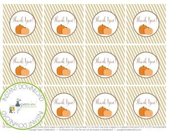 PRINTABLE: Pumpkin Favor Tags, Thank You Tag - INSTANT DOWNLOAD