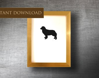 Downloadable Bernese Mountain Dog 5x7 - Printable Dog Silhouette - Digital Clip Art - Instant Download