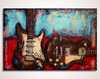 Guitar painting Guitar Art Music wall art Les Paul & Stratocaster Original Red and blue guitar painting on canvas by Magier MADE TO ORDER