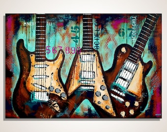 Music art, Gift for musician, Guitar painting, Guitar Art, Music wall art, Original textured guitar painting on canvas MADE TO ORDER