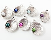 NEW - 7 Mixed Color Pearl Bead Matte Silver Plated Inverted Dome Shaped Charms