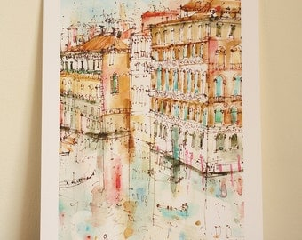 VENICE WATERCOLOR, Grand Canal Italy Wall Art, Rialto Bridge Art, Signed Giclée Print, Mixed Media Painting, Reflections, Clare Caulfield