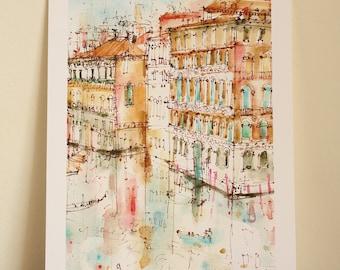 VENICE WATERCOLOR, Grand Canal Italy Wall Art, Rialto Bridge Art, Signed Giclée Print, Mixed Media Painting, Reflections, Clare Caulfield