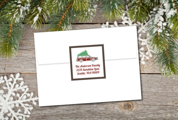 Tree on Car Holiday Labels/Stickers (SET OF 40 PRINTED); retro
