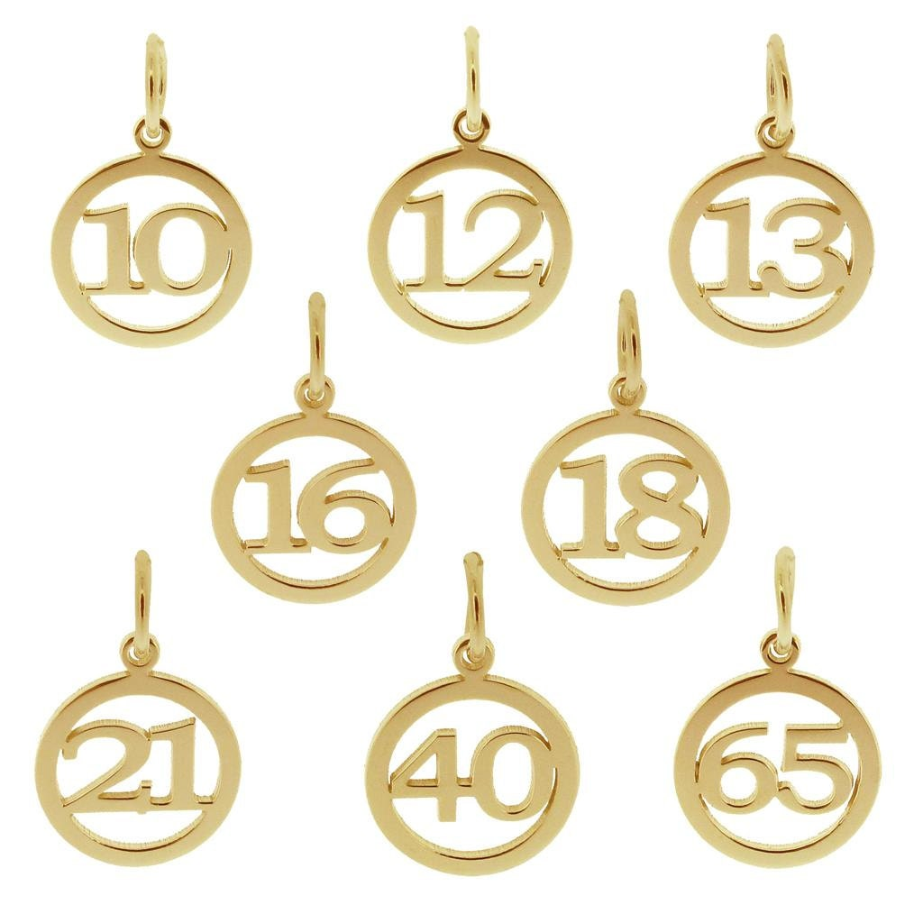 9ct gold number birthday age pendant charm number 10 12 13 16