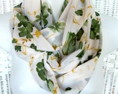 INFINITY SCARF VINTAGE Chiffon Fabric Hand Made White with Flowers Green Amber Leaves Beautiful Pretty Large Flowing