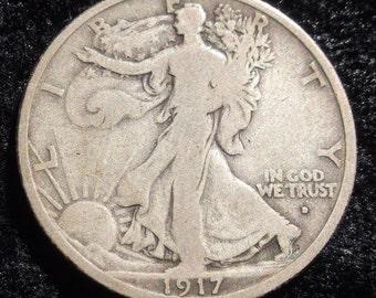 1917 d on Obv. Walking Liberty Half Dollar F-12