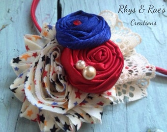 Red, White, Blue Fabric Flower Headband, Red Headband, Fabric Flower Hair Clip, Hair Bow, Girls Headband, Baby Girl Headband, Toddler Girls