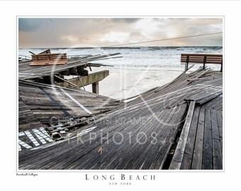 "Long Beach, NY Beach Landscape- ""Boardwalk Collapse"" 14x11"
