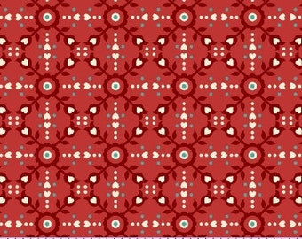 35 PERCENT OFF SALE Yard of Marcus Fabrics 0534 0111 Tweet for Two by Nancy Rink Red Dot Floral