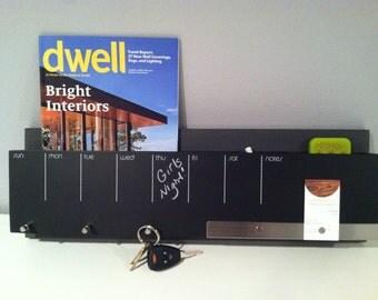 Industrial modern grey black chalkboard days of the week weekly memo board, mail cell holder magazine rack keys coat rack wall organization
