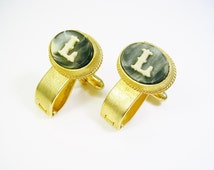 Dante Cufflinks / Monogram Initial L / Incolay Stone / gold tone hinged back / Men's Jewelry / Formal Wear / Groom gift / Cuff Links