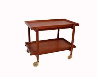 Poul Hundevad  Teak Bar Cart Rolling tea cart  butlers tray danish modern marked Povl Dinesen 60s