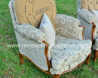 """Upholstered club chair, accent chair, French bergere chair - """"French Club Chair"""" - In Stock"""
