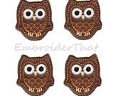 UNCUT Brown and Orange Owl applique embellishments (4)