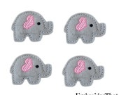 UNCUT RTS Heart Ear Elephant felt applique embellishments hair bow center feltie (4)